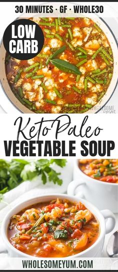 The Best Keto Low Carb Vegetable Soup Recipe - The best vegetable soup recipe ever, ready in 30 minutes! If you want to know how to make healthy vegetable soup or keto low carb vegetable soup, this one checks all the boxes. Vegetarian Vegetable Soup, Best Vegetable Soup Recipe, Homemade Vegetable Soups, Veggie Soup Recipes, Chicken Recipes, Low Carb Soup Recipes, Diet Recipes, Vegetarian Recipes, Healthy Recipes
