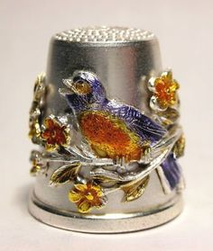 Robin Redbreast - brown, red, orange, silver, blue - Beautiful thimble details