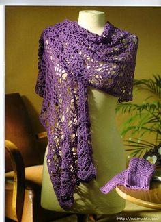 Crochê Tricô - Gráficos: Echarpe em Crochê