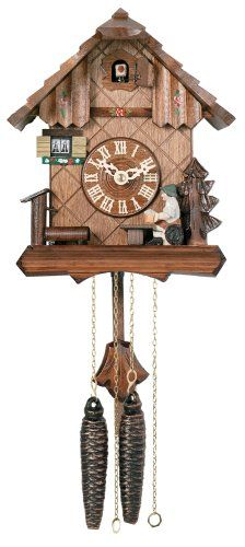River City Clocks One Day Chalet Style Cuckoo Clock with Beer Drinker Raising His Mug - 9 Inches Tall - Model