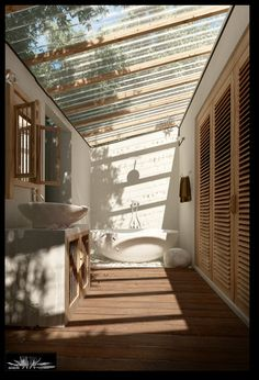 semi outdoor bathroom with sunroof