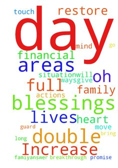 Double our Increase in all areas of our Lives -  Dear Lord, I thanked you for this new day againLord am asking from you to double up our increase in all areas of our lives with my family,friends,relatives and loveones.Give us more happiness,joy and full of blessings this weekThat all our trouble situationwill get us out and bring us to your Promise and fruitful landAm praying long time oh lord for my financial situationthat praying you will release and restore our breakthrough so that we can…