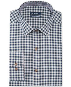 Bar III Carnaby Collection Slim-Fit Crown Blue Gingham Dress Shirt