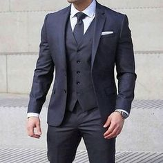 Wedding suits men - 2019 Groom Suit Dark Blue Two Button Notched Lapel GroomsmanTuxedos Wedding Party Suits ( Jacket Vest Pants Tie) Trendy Mens Fashion, Mens Fashion Suits, Stylish Men, Dress Shirt And Tie, Suit And Tie, Suit For Men, Best Mens Suits, Man In Suit, Black Suit Men