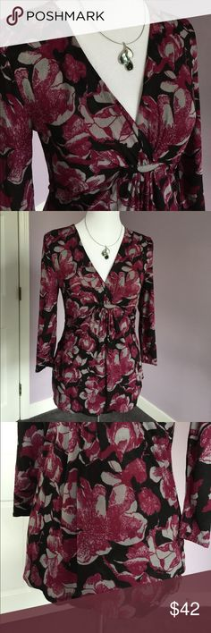 """Lovely Print Silk Top from Nordstrom From Nordstrom's Classiques Entier line, this is a lovely 3/4 sleeve crossover v-neck top with seaming and gathering below the bust.  Colors are black, gray, and magenta in a floral print. Fabric content in photos. Fully self lined. Center back length 25"""", sleeves 15 1/2"""", shoulders 18"""", chest laying flat 16"""". Only worn a few times. Very good condition. Thanks for looking! Nordstrom Tops"""