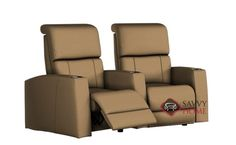 Hifi 2-Seat Leather Reclining Home Theater Seating (Curved)