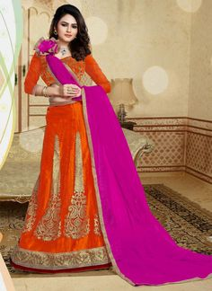 Our online shopping store daily launch different and unique lehenga choli. Buy this masterly orange and pink designer a line lehenga choli for party and wedding.