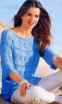 Вяжем спицами женский пуловер с ажурным узором