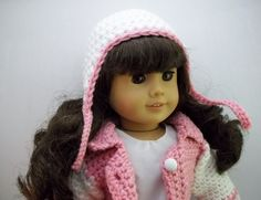 American Girl Doll Clothes, 18 inch Doll Clothes, AG Doll Clothes, 6 piece Outfit, Jacket, Jeans, Boots, Wristers, Top, Pink and White by MelindasClosetFinds on Etsy