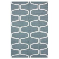 Hand-hooked wool rug with geometric motif.  Product: RugConstruction Material: 100% WoolColor: Light blueFeatures: Hand-hookedNote: Please be aware that actual colors may vary from those shown on your screen. Accent rugs may also not show the entire pattern that the corresponding area rugs have.Cleaning and Care: Spot treat with mild detergent and water. Professional cleaning is recommended if necessary.