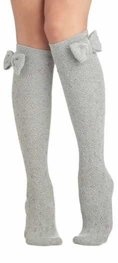 Grey Bow Socks