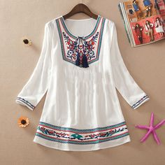Spring women shirt embroidery top bohemia national trend plus size loose cute shirt plus  size shirt  blouses US $19.00