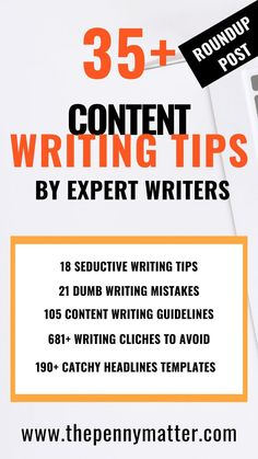 35 Free Content Writing Tips by Expert Writers to help you write better content online 35 Free Content Writing Tips by Expert Writers to help you write better content online Blog Writing Tips, Writing Strategies, Writing Skills, Blog Tips, Article Writing, Essay Writing, Writing Ideas, Writing Prompts, Facebook Marketing Strategy