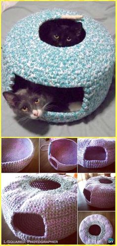 Crochet Cute Cat Nest Bed Free Pattern - Crochet Cat House Patterns #CatCute