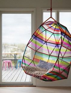 Multi coloured hanging chair