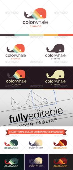 Color Whale Logo by pixarno A fun and quirky logo for the innovative company! Choose between 4 carefully selected color combinations or create your own. The