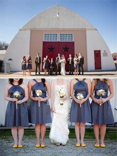 I love how the bride coordinated her shoe to match the bridesmaid's dresses while the bridesmaids wear a cheery pop of yellow!