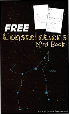 FREE Constellations Mini Book - This free printable stars book helps kids learn about the different constellations in the night sky. Perfect for an astronomy unit for homeschool, science project, summer activity for kids in kindergarten, grade, gr Space Activities For Kids, Science For Kids, Science Activities, Science Projects, Art Projects, Science Crafts, First Grade Science, Kindergarten Science, Constellation Activities