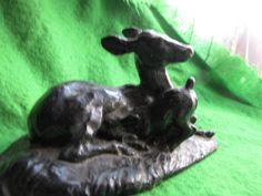 Vintage statue Figurine metal Pig iron Cash Deer Fawn USSR Russia very nice
