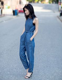 The most fuss-free way to pull off a Canadian tuxedo is to go for the all-in-one denim jumpsuit. It's foolproof.