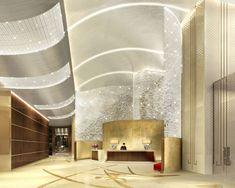 Shangri-La Hotel Jing An rendering of the reception by HBA/Hirsch Bedner Associates.