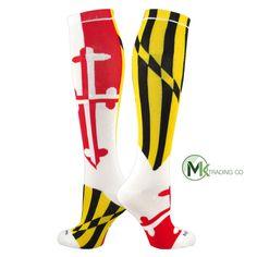 5fac367c1 TCK Elite Flag Knee-High Socks - MARYLAND - White