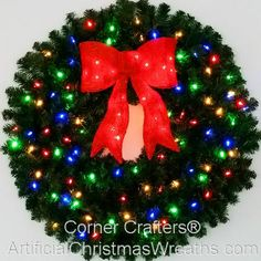 3 Foot inch) Multi Color L. Christmas Wreath with Pre-lit Red Bow Pre Lit Christmas Wreaths, Artificial Christmas Wreaths, Christmas Jingles, Christmas Decorations, Holiday Decor, Spanish Christmas, Holiday Ideas, Christmas Ideas, Xmas