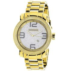 This Luxurman Mens Diamond Watch is Yellow Gold Plated and features carats of genuine diamonds around the bezel, a polished yellow gold tone metal case with a metal band and a yellow face paved in white sparkling stones. This elegant LUXURMAN diamond Gold Rolex, Diamond Watches For Men, Rolex Date, Thing 1, Luxury Watch Brands, Gifts For Coworkers, Stainless Steel Watch, Metal Bands, Watch Bands
