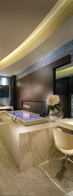 channel in ceiling for strip light Luxury Home Design- Luxury Bathroom- ♔LadyLuxury♔ House Design, House Styles, Interior Design, Home, Dream Bathrooms, Beautiful Bathrooms, Luxury House Designs, Modern House, Home Decor