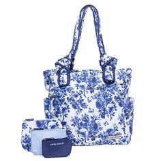 Laura Ashley, the quintessential English lifestyle brand, has created a line of beautiful and functional diaper bags to suit every need. This Beautiful Blue Rose print 6 piece set is quilted in a chevron pattern using durable microfiber material and has a top zip closure ensuring your belongings stay inside. The 3 different sized pouches (embroidered or printed in a dot, solid and Gray floral coloration) attached to the bag add a level of detail allowing the user to stash keys, phone…