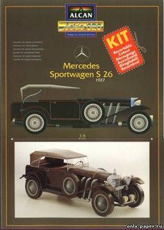 Paper car model Mercedes Sportwagon S 26 1927 Paper Model Car, Paper Car, Old Paper, Paper Models, Paper Toys, Peugeot 3008, Nissan Skyline, Rolls Royce, Volvo