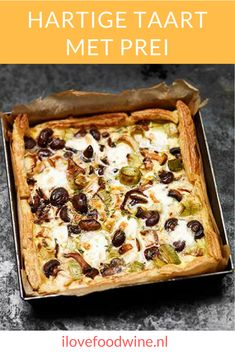 Quiche with leek and mushrooms - I Love Food & Wine - Recipe Savory pie with puff pastry leeks. With chestnut mushrooms, leek, peas, thyme, mozzarella et - Tart Recipes, Veggie Recipes, Wine Recipes, Vegetarian Recipes, Cooking Recipes, Healthy Recipes, Cooking Food, Oven Dishes, Dinner Dishes