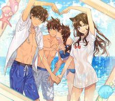 Shinichi, Ran, Heiji, Kazuma Detective Conan Save three times a day. Just store it three times a day and save it! I'm not going to take you back. I'm gon na cut it off.(If you want to store it on your pins, please don't forget to sell it! Magic Kaito, Conan Comics, Detektif Conan, Anime Amor, Manga Anime, Sherlock Holmes, Couple Manga, Ran And Shinichi, Kudo Shinichi