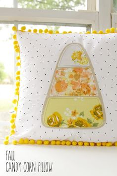 Halloween   Fall   Learn how to make this adorable DIY Halloween Fall Candy Corn Pillow with this simple tutorial.