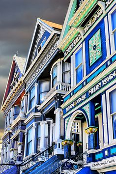 Row Of Victorian Houses In Haight Ashbury, San Francisco By Mitchell Funk www.mitchellfunk.com