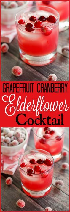 Grapefruit Cranberry Elderflower Cocktail  http://www.homeandplate.com   The tart flavors of grapefruit and cranberries are swirled together with sweet elderflower liqueur and vodka in this perfect winter cocktail.