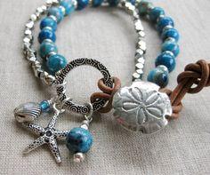 Denim Sea Silver  Denim Blue Coastal Charm by SeaSideStrands