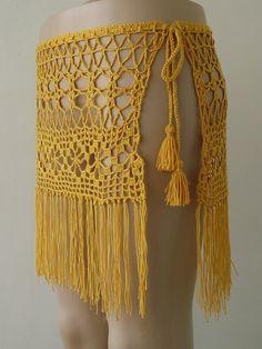 EXPRESS CARGO!!! Yellow Color crochet skirt, crochet cover up, women pareo…