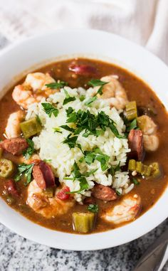 Shrimp, Andouille, and Okra Gumbo - a true taste of New Orleans