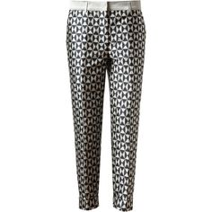 HAIDER ACKERMANN Geometric Woven Twill Trousers (3.170 ARS) ❤ liked on Polyvore featuring pants, bottoms, trousers, calças, twill pants, twill trousers, pleated trousers, lined pants and haider ackermann