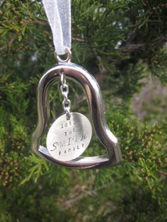 Personalized Silver Bell Christmas Ornament by ForeverStamped, $19.75