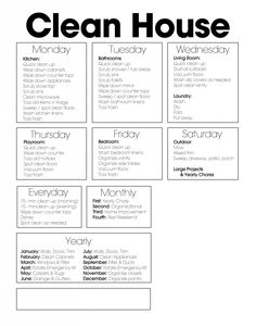 Free Cleaning Chart Printable to help with your cleaning schedule ~ Project Simple Home