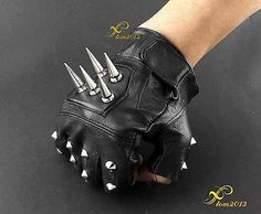 Mens-Leather-Spike-stud-Punk-Rocker-Driving-Motorcycle-Biker-Fingerless-Gloves