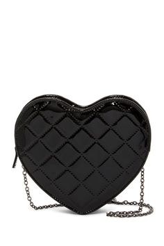 Image of Jessica McClintock Quilted Patent Heart Clutch