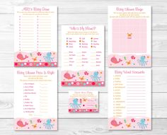 Pink Under The Sea Baby Shower Games Package-6 Printable Games (Price is Right, Bingo, Word Scramble, Guess How Many etc)  INSTANT DOWNLOAD by LittlePrintsParties on Etsy https://www.etsy.com/listing/227683807/pink-under-the-sea-baby-shower-games