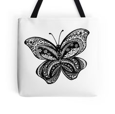 Zentangled Butterfly Black & White by Heather Holland
