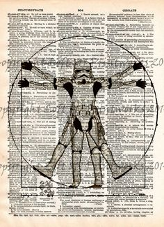 Storm trooper, Star Wars, Da Vinci vitruvian man art print, dictionary page print
