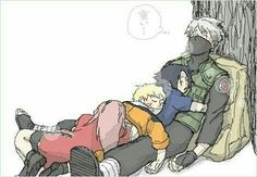 Team 7, Naruto, Sakura, Sasuke, Kakashi, sleeping, cute, text, tree; Naruto