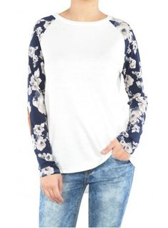 Floral Print Sleeve Light Pullover