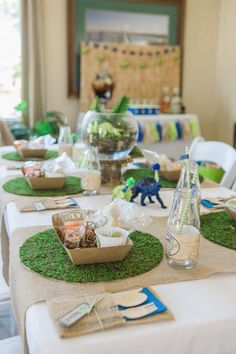 Dinosaur Birthday Party Table Setting